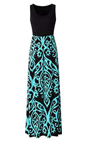 Zattcas Womens Summer Contrast Sleeveless Tank Top Floral Print Maxi Dress,Black,X-Large
