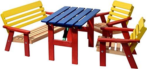dobar kinderzitje voor vier kinderen van FSC-hout, bruin/bont Kleurrijk - 4-delig multicolor