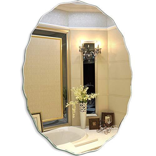 Ovalado Espejos de baño para Pared Maquillaje Cosmético Encimera Vanidad Tocador Sin Marco para baño Sala Habitación Dormitorio