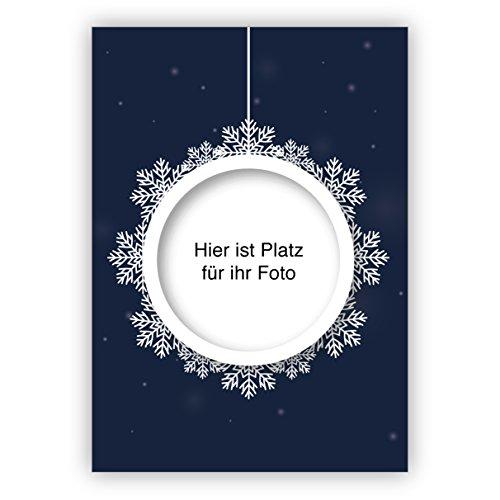 4 Schneekugel Weihnachtskarten mit ihrem Foto im Weihnachts Anhänger mit ihrem eigenen Innen-Text - ohne unser Logo a.d. Rückseite • Klappkarten als liebevoller Weihnachts Gruss