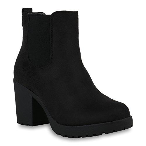 stiefelparadies Damen Stiefeletten Chelsea Boots Warm Gefütterte High Heel Plateau Winter Schuhe Profilsohle 153650 Schwarz Amares 38 Flandell