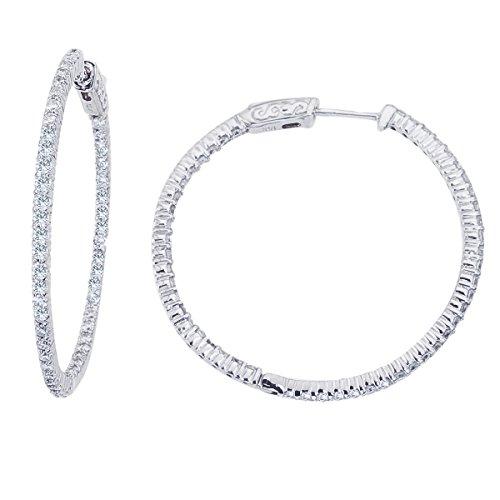 14K Blanco Oro 2ct Diamante 35mm Redondo Secure Lock Hoop Pendientes