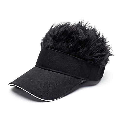 Men's Novelty Flair Hair Visors Spiked Funny Golf Hats Guy Fieri Peaked Fake Wig Adjustable Baseball Caps Birthday Gift