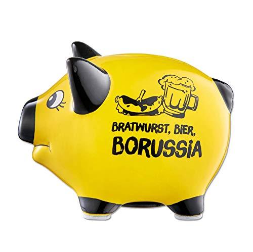 Borussia Dortmund Sprücheschwein - Bratwurst, Bier, Borussia - Sparschwein, Spardose BVB (L)