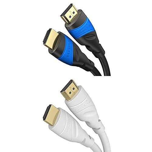 KabelDirekt Bundle, 1 m, Cable HDMI 4K (4K@120Hz & 4K@60Hz, High Speed con Ethernet, HDMI 2.0) y cable HDMI 4K blanco de 2 m (4K@60Hz, High Speed con Ethernet, HDMI 2.0a/2.0b/2.0/1.4a, blanco)