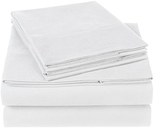Amazon Brand – Pinzon 300 Thread Count Organic Cotton Bed Sheet Set - Queen, White