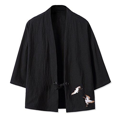 Veste Mince rétro des Hommes Chinois Kimono Japonais Robe Broderie Manteau-Noir