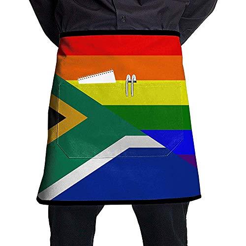 Südafrikanische Flagge LGBT-Flagge Kurze Schürzen Frauen/Männer Maniküre-Shop Grill Ärmellose Anti-Fouling Overalls Schürzen Tragbares Taschen-Design