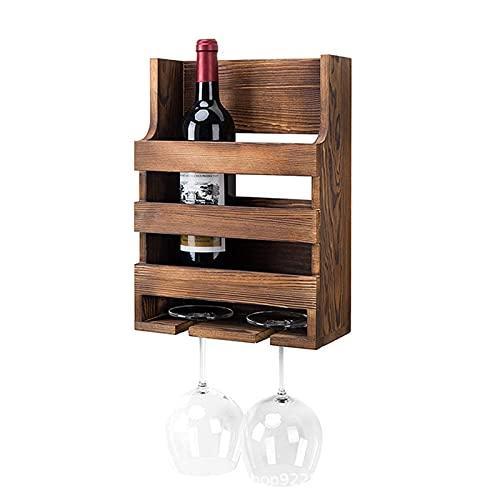 Estante de vino montado en la pared, estante de copa de vino de madera maciza, estante de vino creativo, soporte de botella de vino de copa al revés