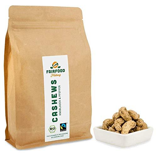Bio Fairtrade Cashewkerne Knoblauch & Pfeffer (500g) | Geröstet in Freiburger Manufaktur | Fair gehandelte Cashews aus Burkina Faso