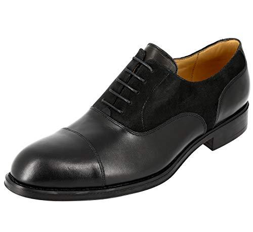 Belym Richelieu - Zapatos para hombre de ciudad (piel, lisos y gamuza negro), Negro (Negro ), 40 EU