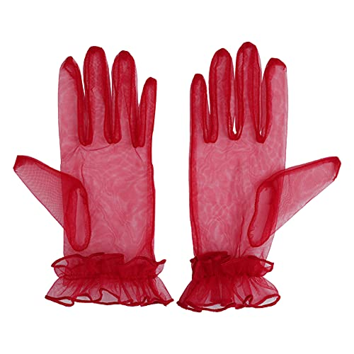 Freebily 1 par Guantes de Encaje para Mujer Guantes de Novia Guantes de Malla Verano Guantes Nupcial Novia para Boda Vestido de Noche Fiesta Vino Rojo OneSize