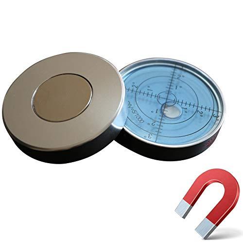 Magnetische, Dosenlibelle - Große Metall-Wasserwaage mit Luftblase, 60mm Durchmesser, Flüssigkeit, Gradangabe, Boden-Wasserwaage – Metallgehäuse, Bullseye, Blau/Silber