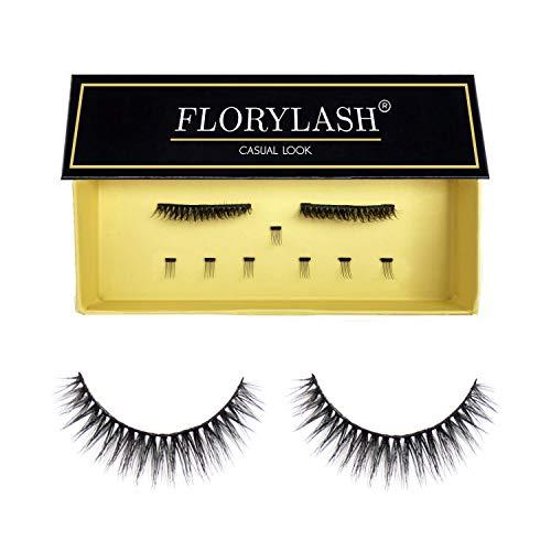FLORYLASH® | Casual Look - Magnetische Wimpern 3 Magnete Natürlich Magnetic Fake Lashes ohne Eyeliner 3D Volumen Set Wiederverwendbar (Größe M (28 mm breit))