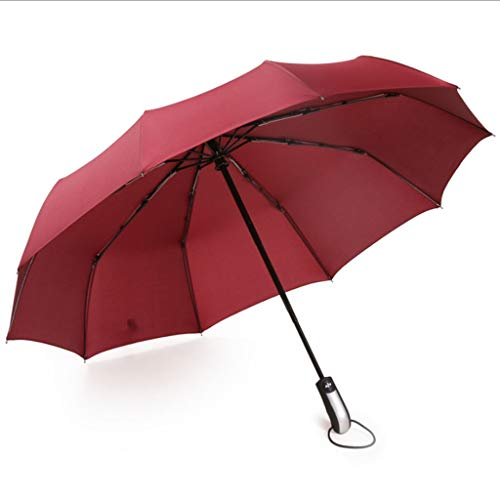Review Jian Fully Automatic Ten Bone Folding Umbrella, Anti-Snow, Rain, Sunshade, Large (Color : Red...