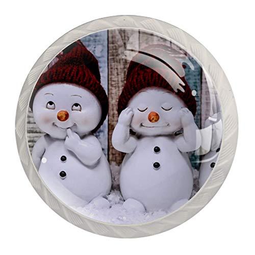 Juego de 4 perillas redondas blancas para gabinete para armarios, cajones, accesorios de baño, pomos decorativos, muñeco de nieve, invierno y Navidad