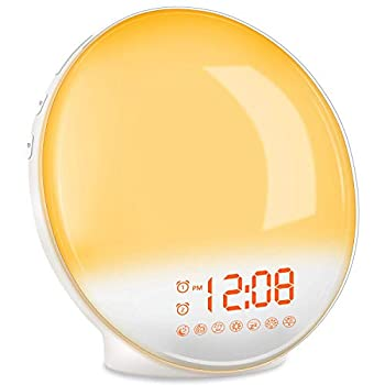 TITIROBA Wake Up Light Sunrise Alarm Clock Radio Bedside Lamp with Sleep Aid Dual Alarms Snooze Colorful Lights Natural Sounds for Kids Adults Bedroom