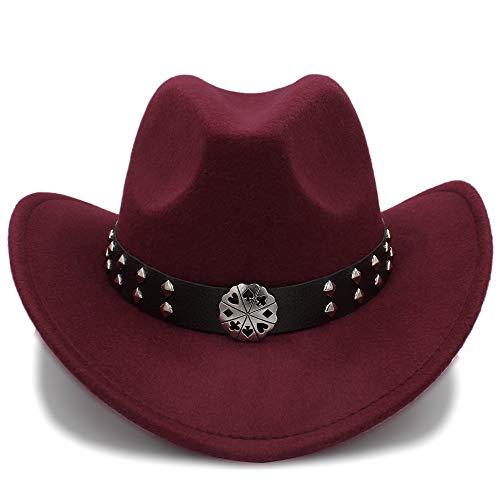 SSLA SSLA 2018 Western Cowboy Hüte Nachahmung Wolle Material Herren Damen Visier Hut Reise Leistung Punk Cowgirl Cap (Farbe : Weinrot, Größe : 56-58cm)