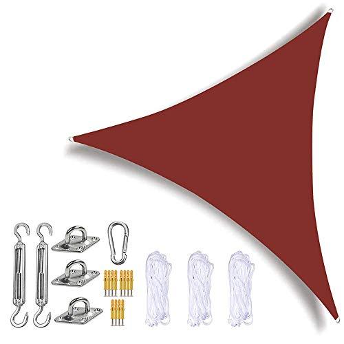 Parasol para velas velas triangulares con kit de fijación resistente 3 cuerdas impermeable anti-UV para exteriores toldos para jardín toldos para balcón rojo óxido 6 x 6 x 6 m