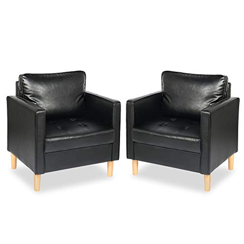 STHOUYN Modern Faux Leather Armchair Accent Chair Set of 2 with Arms, Comfy Tufted Single Sofa Reading Chair Living Room, Studio Office Couch Sets Small Space (2, Black)