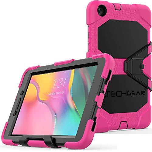 TECHGEAR Custodia Robusta Compatibile con Nuovo Samsung Galaxy Tab A 8.0  2019 (SM-T290 SM-T295) Resistente agli Urti e all impatto - Cover con Supporto per i Bambini, Lavoro e Scuola [Rosa]
