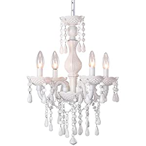 4-Light White Crystal Chandeliers, Small Acrylic Ceiling lamp, Adjustable Height, Modern Ceiling Suction Pendent Lamp, for Dining Room, Bedroom,Wardrobe