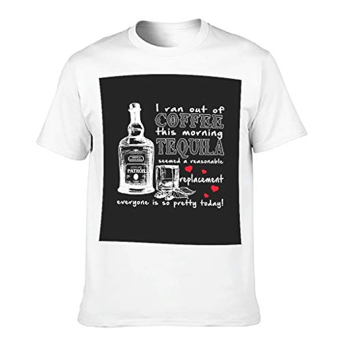 Peachy Sonntag,Tequila Männer T-ShirtsKurze HülsenTee Sommer Neuheit Logo Shirts TopT-Stücke White Large