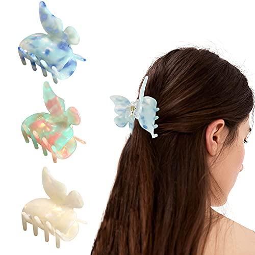 Pinzas Pelo Mujer, Accesorio para el cabello con forma de mariposa para Bañarse, Lavarse la Cara, Maquillarse, Fiestas (3PCS)