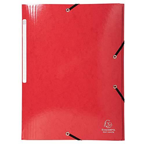 Exacompta - Réf. 55825E - 1 Chemise à élastiques 3 rabats Maxi capacity carte lustrée pelliculée 425gm² Iderama A4 - Rouge