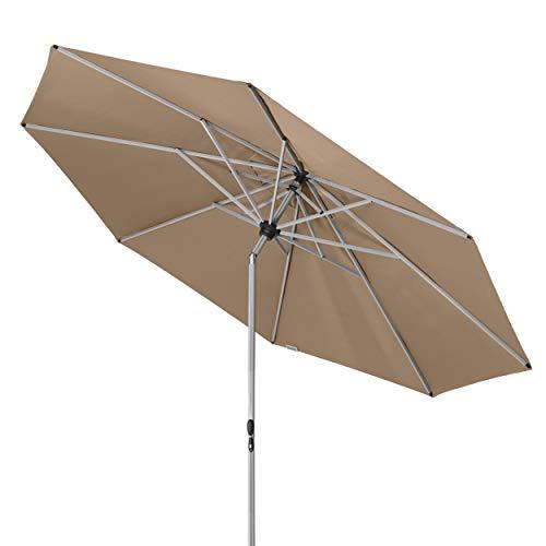 Doppler Active TELESKOP – Innovativer Sonnenschirm ideal für Terrasse und Garten – Knickbar – ca. 340 cm – Greige