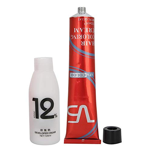 Professional Hair Dye Cream Kit, Hair Dyeing Cream Barber Shop Hair Coloring Cream (100ml+120ml)(Golden Red)
