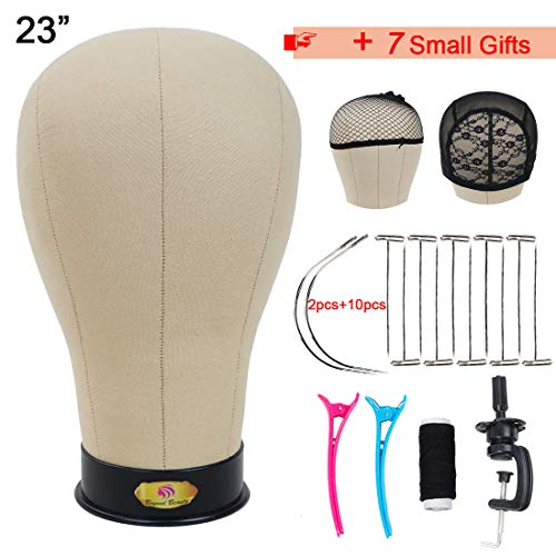 Cork Canvas Block Head Mannequin Head for Making Wig Display Styling Head With Mount Hole 23 Inch