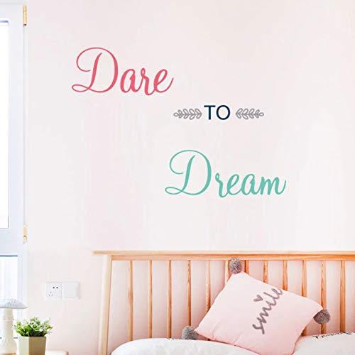 Colorido Atrévete a soñar pegatina de pared dormitorio sala de estar decoración Mural decoración del hogar pegatinas cartel papel tapiz
