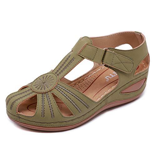 ZAPZEAL Sandalias de cuña para mujer, de verano, gruesas sandalias de piel sintética, con correa ajustable para el tobillo, 36-43EU, color Verde, talla 41.5 EU