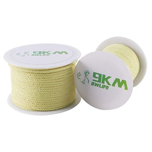 9KM DWLIFE Braided Kevlar Line 380lb 1.3mm Dia Low Stretch Great Knot Retention Multipurpose Braided String Utility Cord for Kite Fishing Survival Outdoor