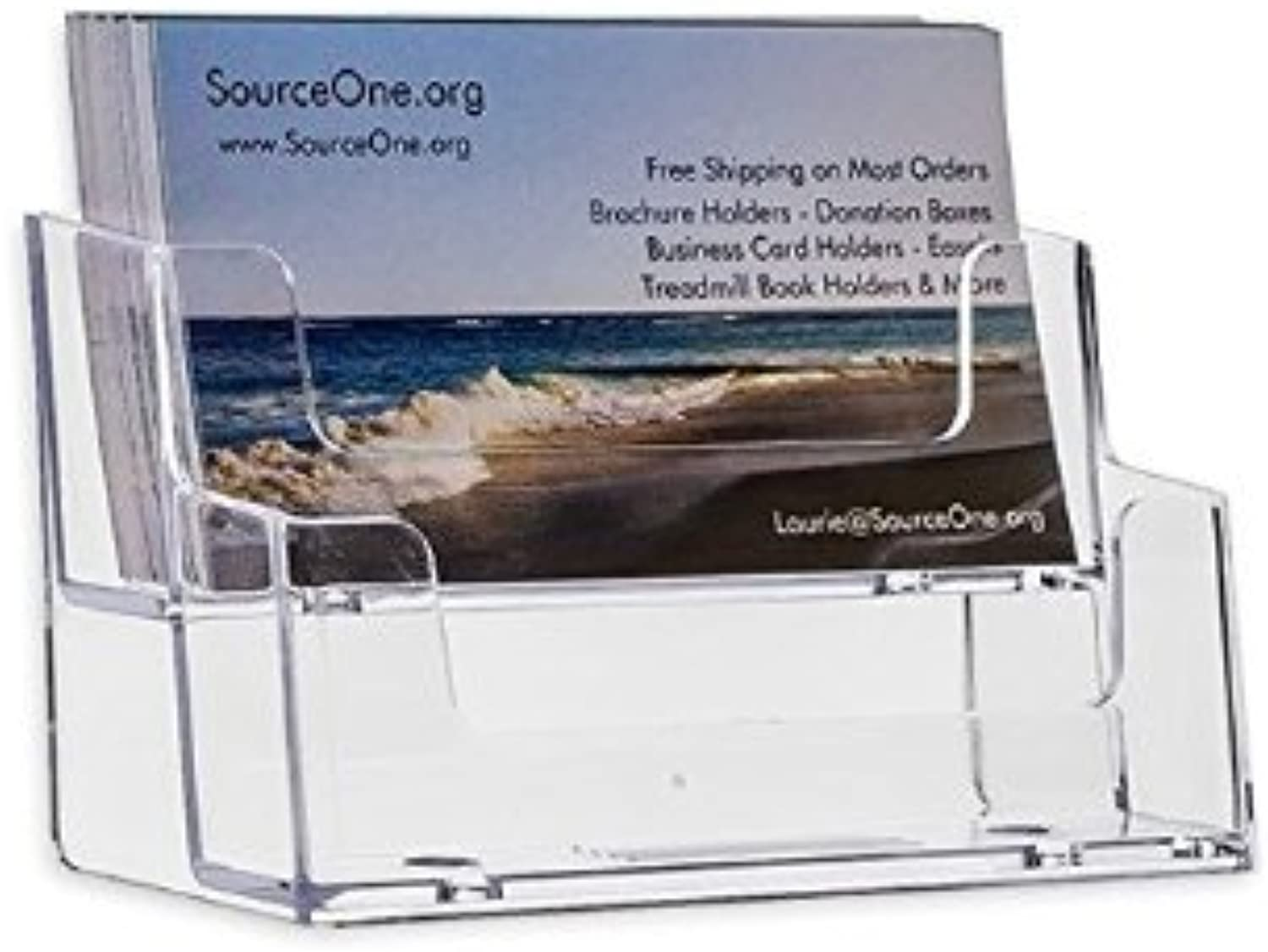 SourceOne 2 Tier Premium Acrylic Clear Business Card Holder, Clear (XDEEP2PCLRBC) (24 Pack)