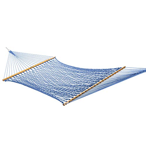 Original Pawleys Island 13DCCB Large Coastal Blue Duracord Rope Hammock with Extension Chains & Tree Hooks, Handcrafted in The USA, Accommodates 2 People, 450 LB Weight Capacity, 13 ft. x 55 in.