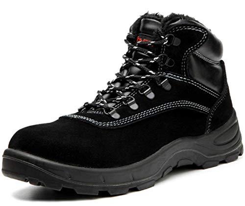 [ブルーポメロ] 安全靴 ハイカット あんぜん靴 作業靴 メンズ 防寒 黒 通気 滑り止め 耐油 裏起毛タイプ 621ブラック 26.5