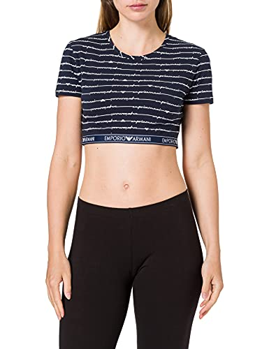 Emporio Armani 164423 1P219 73935 Camiseta, BLU Allover White, M para Mujer