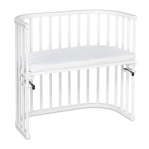 Cododo original babybay, laqué blanc en bois de hêtre massif avec matelas Classic Soft pour jour et nuit I lit réglable en hauteur et respectueux de l'environnement I lit qui grandit avec l'enfant