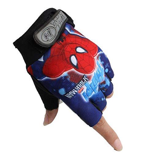 CCDD Fahrradausrüstung für Kinder, Sommer Fahrradhandschuhe, dünne Fahrrad Rollschuh Sport Fahrradausrüstung mit halben Fingern Spiderman_6 10 Jahre alt