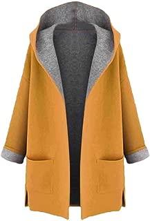 Women Warm Long Sleeve Coat with Pockets Medium Long Overcoats Loose Front Open Outwear