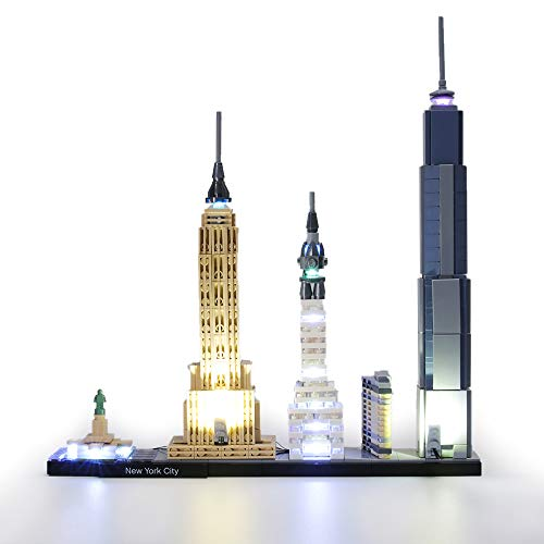 HZQM USB Lighting Set for Architecture New York City  Compatible with 21028 Lego Building Blocks Model Lego Set Not Included