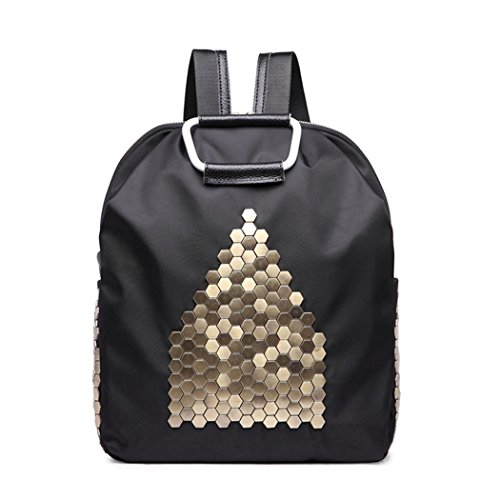 Oxford rivet sac à dos Casual léger shopping bag voyage randonnée sac à dos dames Pack , black