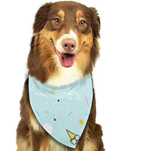 YAGEAD Hund Bandana Welpe und Haustier Bandanas, Farben Orange Memphis Sommermuster EIS geometrische grüne Formen Moderne abstrakte Blaue einfache Haustier Schal