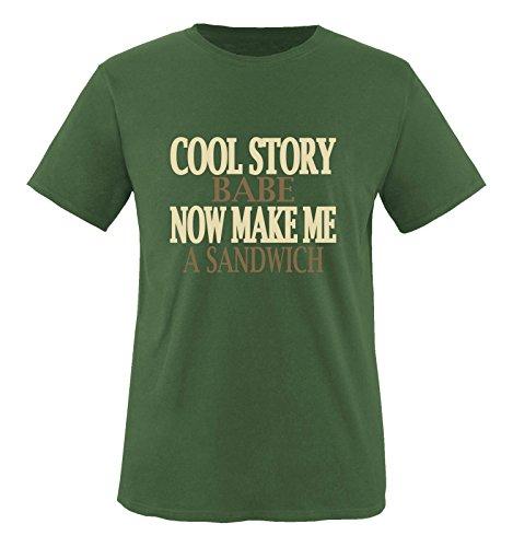 Comedy Shirts - Cool Story Babe. Now Make me a Sandwich - Herren T-Shirt - Oliv/Hellbraun-Beige Gr. L