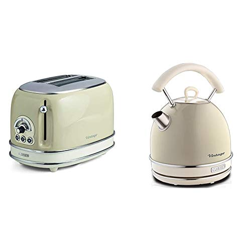Ariete 155/03-beige 155 Toaster 2 Scheiben Vintage Beige, Metall & 2877 Kabelloser Wasserkocher Vintage, 1,7 L, 2200 W, beige, Rostfreier Stahl