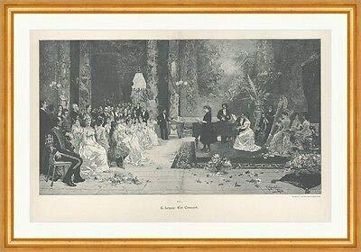 Kunstdruck EIN Concert R. Lopez Adel Klavier Sängerin Publikum Saal Holzstich C 1689 Rahmen