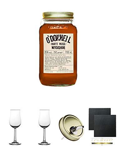 ODonnell Harte Nuss 25% 0,7 Liter + 2 Bugatti Nosing Gläser mit Eichstrich 2cl und 4cl + 2 Schiefer Glasuntersetzer eckig ca. 9,5 cm Ø + 1 ODonnell Ausgiesser
