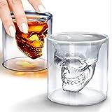 Offershop Verre avec Crâne Tête de mort Skull Head 75 ML pour Whisky Bière Vin Vodka Rum Cocktail Grappa Boissons Alcoolisées Chupitos Shot